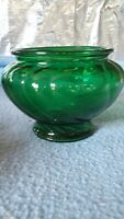 "Vintage Napco Green Clear Glass Vase Planter Swirl Design 1192 5"" tall 6.5"" wide"