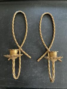 One Pair Vtg Home Interior Gold Metal Twisted Rope Candle Holders Wall Sconces