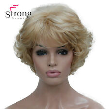 StrongBeauty Short Thick Wavy Blonde Highlights Full Synthetic Wig Women's Wigs
