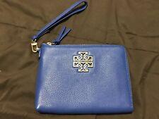 TORY BURCH BRITTEN LARGE ZIP POUCH CLUTCH BAG WRISTLET BONDI BLUE NWT