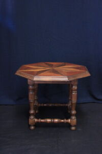 Small Table Octagon/Walnut Solid/Inlaid/Period First Half Of '900