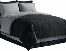 Bedsure Bed in A Bag Comforter Sets Black/Light Grey Twin XL Size - Microfiber R