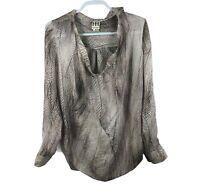 Haute Hippie Women's Size M Silk Printed Cowl Neck Blouse Missing a Button