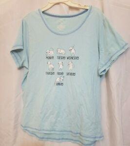 Light Blue Secret Treasures Sleepy Cat Monday-Sunday 2X (18-20) Sleep Shirt