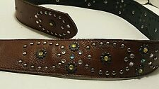 "WOMENS FASHION BROWN MULTI-COLORED RHINESTONES & STUDS WESTERN / CASUAL 38"" BELT"