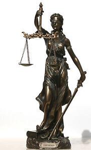 Goddess of Justice Themis Lady Justica Statue Sculpture Figur Bronze Finish 30cm