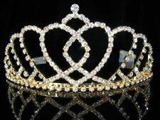 Damigelle d'onore prom Flower Girl NOZZE CUORI Cristallo Oro Placcato Diadema 5.8 cm t081g