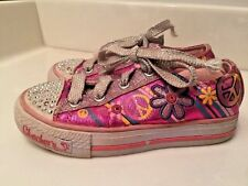 SKECHERS Twinkle Toes PEACE SIGN Love Light Up Girls Athletic Shoes Size 11.5 ~
