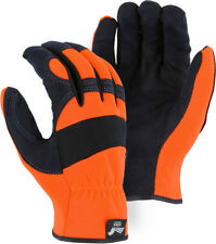 Majestic Glove Mechanic Style High-Viz Orange Back Synthetic Palm  2136HO Medium