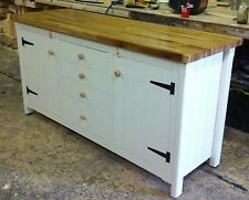 Rustic Pine Freestanding Country Kitchen Unit Cupboard + Drawers Oak Top