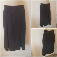 True Vintage 70s Navy Blue 40s Style Midi Skirt Lined 10 Pleated Nautical Cotton