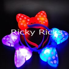 50 Pack Light-Up Minnie Mouse Headbands Polka Dot Blinking LED Flashing Party