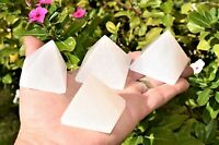 """[4 PCS] 2"""" (50mm) Moroccan Selenite Pyramids Hand-carved Hand-Polished POWERFUL"""
