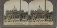 Place Saint-Pierre Da Roma Vaticano Foto Stereo Stereoview Vintage
