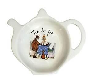Sam Toft Tea for Two Ceramic Tea Bag Tidy Spoon Rest Kitchen Accessory Cat Dog