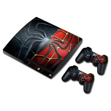PS3 Slim Playstation 3 Console &2 Controllers Skin Decal Sticker -SpiderMan Hero