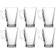 6 x 240ML LATTE GLASSES TEA COFFEE CAPPUCCINO GLASS CUPS MUGS HOT DRINK MUGS