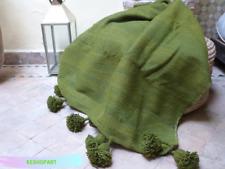 Comfortable Soft Blanket  MOROCCAN WOOL POM POM BLANKET Queen Bed Bohemian Bed