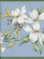 WHITE  DOGWOOD FLORAL ON LIGHT BLUE WITH  GREEN TRIM WALLPAPER BORDER