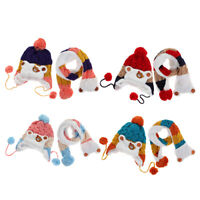 Toddler Kids Boys Girls Winter Beanie Warm Hat Hooded Scarf Earflap Knitted Cap
