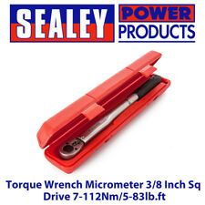 Sealey STW1011 Torque Wrench Micrometer 3/8 Inch Sq Drive 7-112Nm/5-83lb.ft