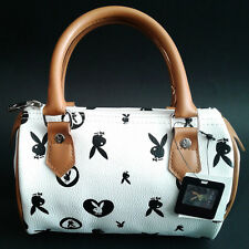 Playboy Bunny Black White And Tan Barrel Purse With Pink Lining NWT