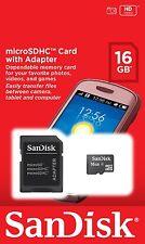 SanDisk nueva 16GB tarjeta de memoria Micro-SD Adaptador incluido