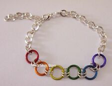 100 RAINBOW BRACELETS with JUMP RINGS AND ALPACA SILVER, HANDMADE