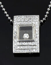 Solid 925 Sterling Silver CZ Pave Pendant Necklace CZ gems Move Inside Glass