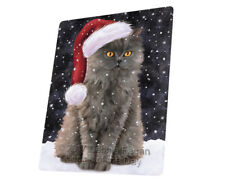 Let it Snow Christmas Selkirk Rex Cat Tempered Cutting Board Large Db29