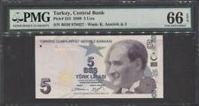 TT PK 222 2009 TURKEY 5 LIRA PMG 66 EPQ GEM UNCIRCULATED POP TWO NONE FINER!