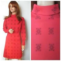 Vintage St Michael 1960s UK:16 Red Long Sleeve Mod Scooter Dress Graphic Print