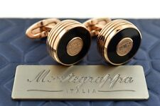 Montegrappa Piacere Rose Gold Ion Plating Black Inlay Gunmetal Emblem Cufflinks