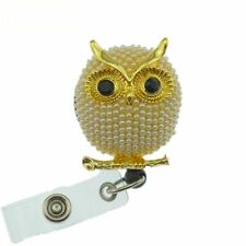 ID Badge Holder Reel Retractable Cartoon Owl Parrot Nurse Pearl Brooch Alloy