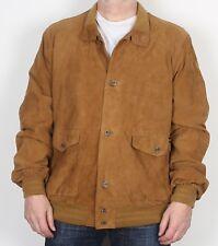 """Abrigo chaqueta de bombardero de gamuza XL XXL 46"""" Marrón años 90 (Kai)"""