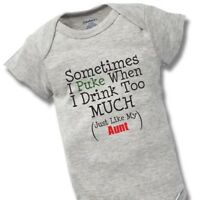 Sometimes When I Drink Aunt Onesies Baby Gift Funny Cute Auntie Boy Girl Clothes