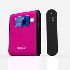 NINETEC 10.000mAh Power Bank Mobiler Akku Ladegerät USB Smartphone pink D565