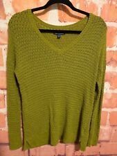 American Eagle V-Neck Open Knit Long Sleeve Sweater Light Green Sz Medium M