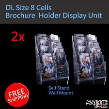 2x DL Size 8 cells Wall Mount Table Top Brochure / Pamphlet Holder Display Unit