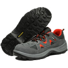 Mens Work Boots Safety Steel Toe Shoes Breathable Gray Size 12 11 10 9 8 7 6 5