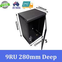 "9U 9RU 10"" 10 Inch 280mm Deep Wall Mount Rack Cabinet Networking"
