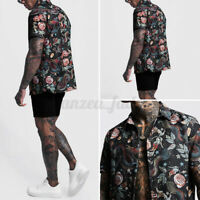 INCERUN Mens Printed Short Sleeve Holiday Loose Shirts Button Casual Tops Blouse