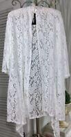 NEW XL 1X White Lace Open Kimono  Cardigan Jacket Topper DT
