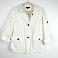 Lafayette 148 Women's XL White Button Down Roll Tab Jacket Pointed Collar Classy