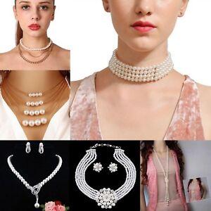 Fashion Charm Jewelry Pendant Chain Pearl Choker Chunky Statement Bib Necklace