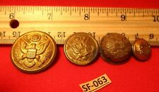 4 Assorted Sizes Very Old Brass Damaged Possibly 1800's Eagle etc Buttons