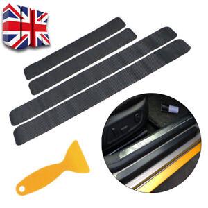 🔥3D Carbon Fibre Car Door Sill Scuff Protector Plate Sticker Cover Tool+Scraper