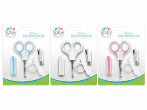 4 Piece Baby Manicure Set Nail Clippers Safety Scissors Cover Newborn