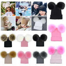Winter Knit Beanie Bobble Hat Cap with Double Pom Pom Christmas Gift for Baby