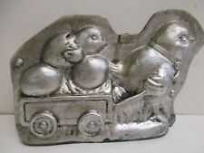 """Vintage style Chocolate mold Chicken pulling Chick Cart egg Easter Decor - 4""""x6"""""""